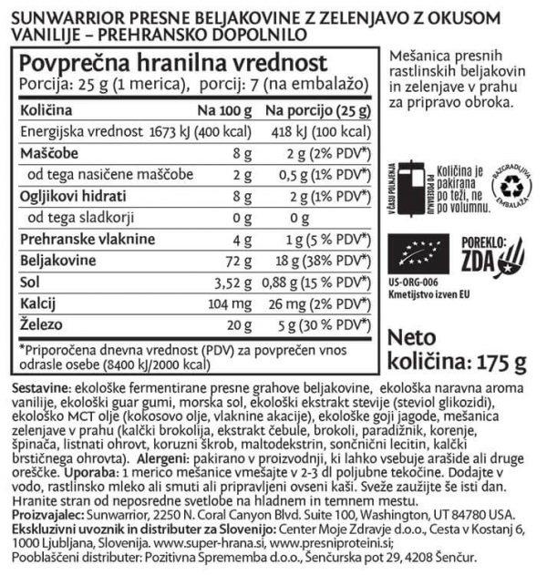 SunWarrior Presne beljakovine z zelenjavo v prahu z okusom vanilije - deklaracija
