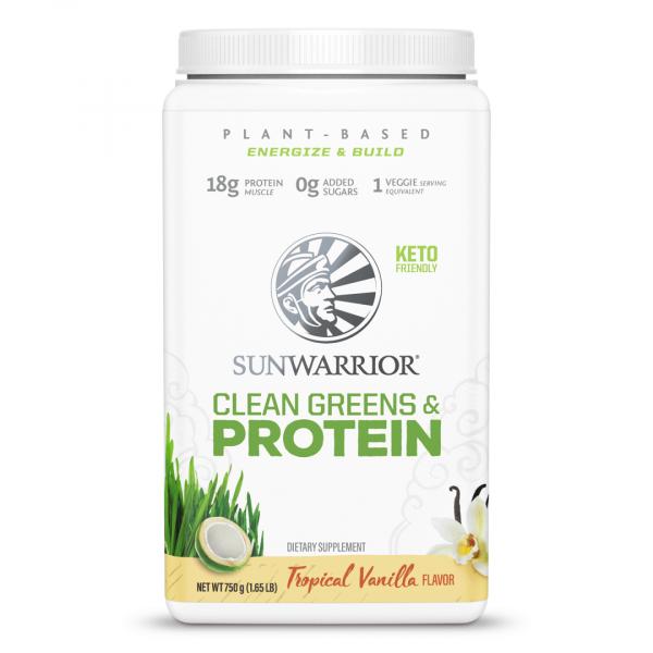 SunWarrior SunWarrior Clean Greens & Protein - Presne beljakovine z zelenjavo v prahu z okusom vanilije, 750 g
