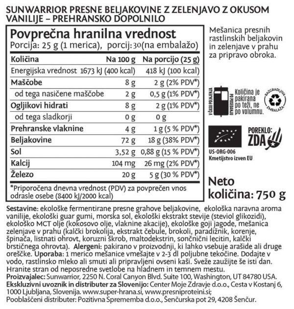 SunWarrior SunWarrior Clean Greens & Protein - Presne beljakovine z zelenjavo v prahu z okusom vanilije, 750 g - deklaracija