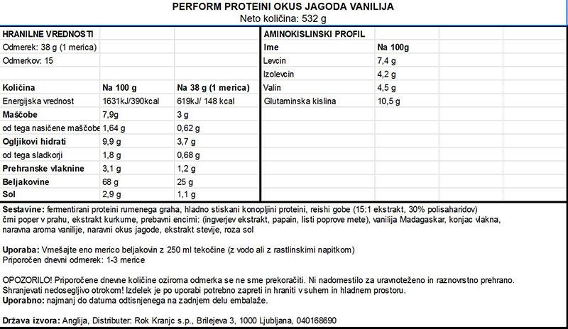 Veganski proteini Vivo Life Perform - Jagoda - deklaracija