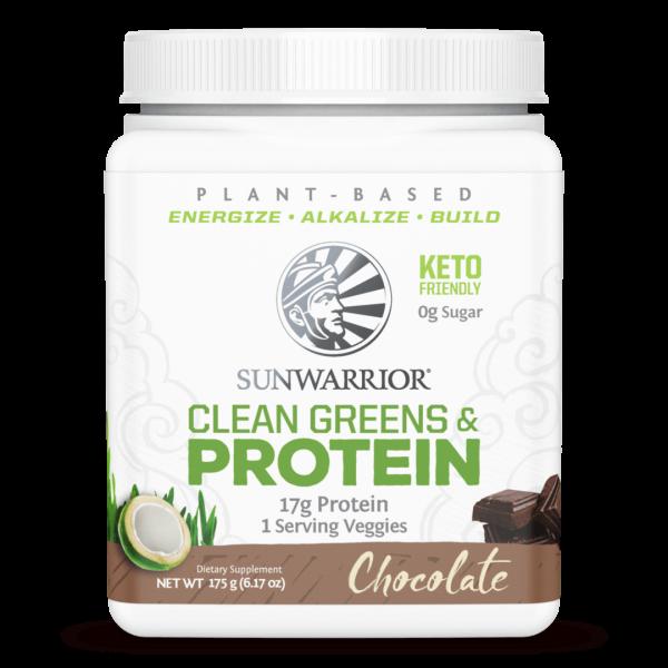 SunWarrior Presne beljakovine z zelenjavo v prahu z okusom čokolade