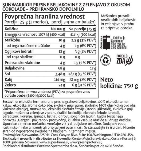 SunWarrior Presne beljakovine z zelenjavo v prahu z okusom čokolade, 750 g