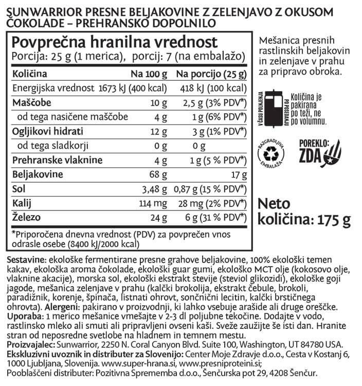 SunWarrior Presne beljakovine z zelenjavo v prahu z okusom čokolade - deklaracija