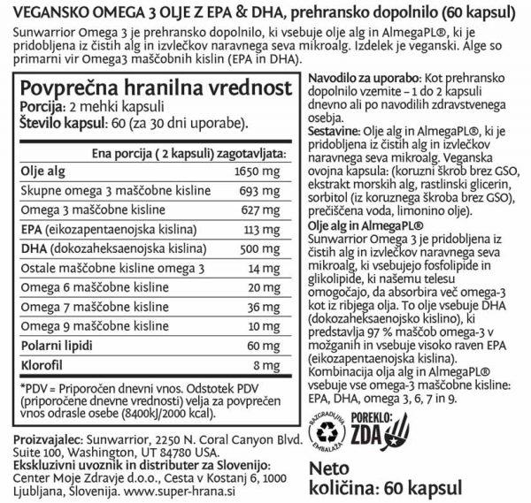 SunWarrior Omega 3 - Vegansko omega 3 olje z EPA & DHA - deklaracija