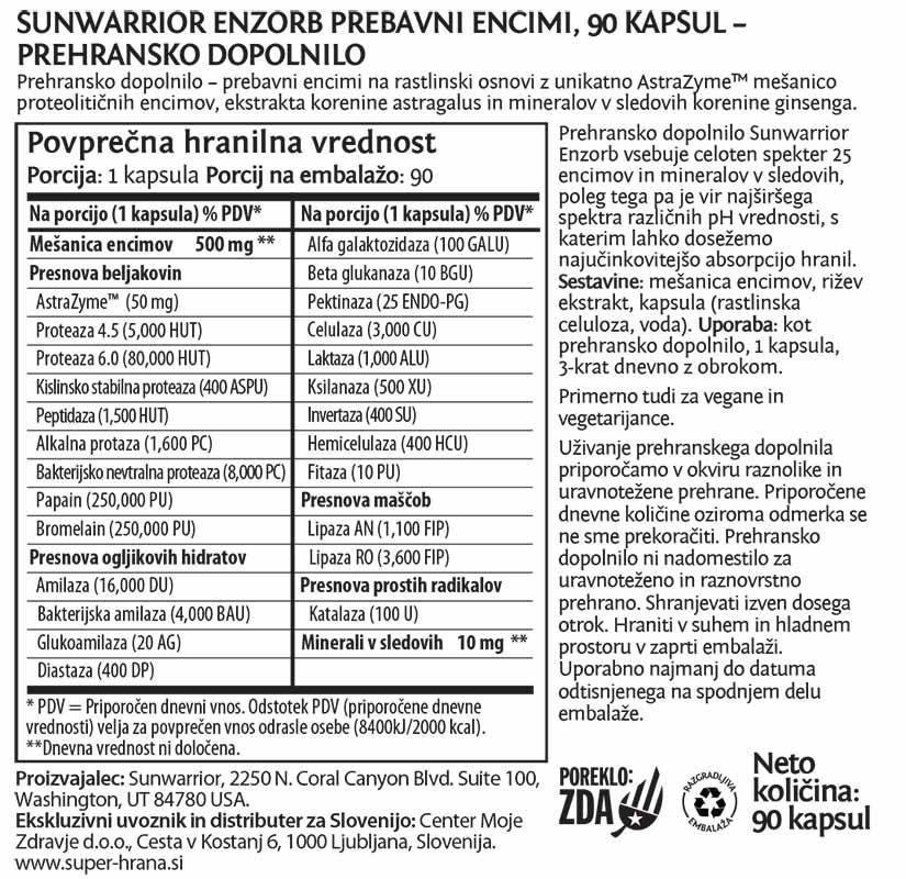 Sunwarrior Enzorb prebavni encimi - deklaracija