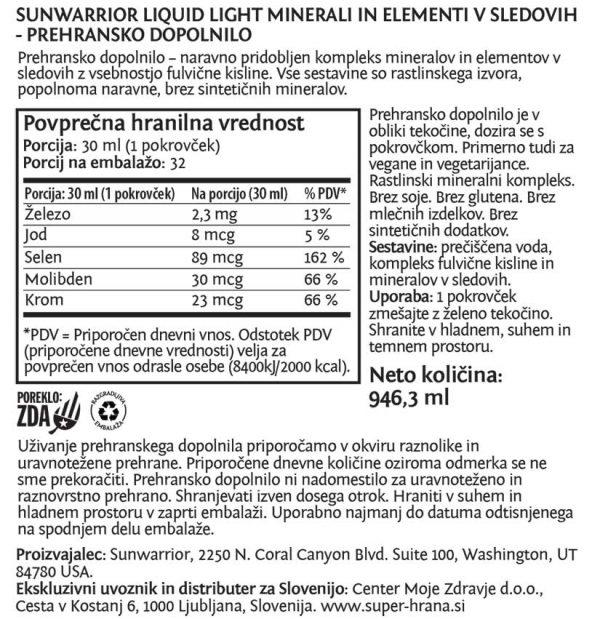 Sunwarrior Liquid Light minerali in elementi v sledeh - deklaracija