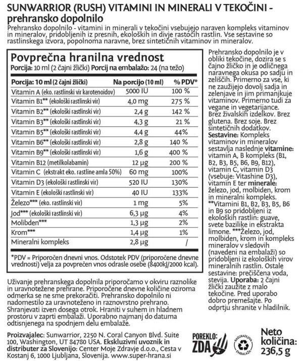 Sunwarrior Liquid Vitamin Mineral Rush - deklaracija