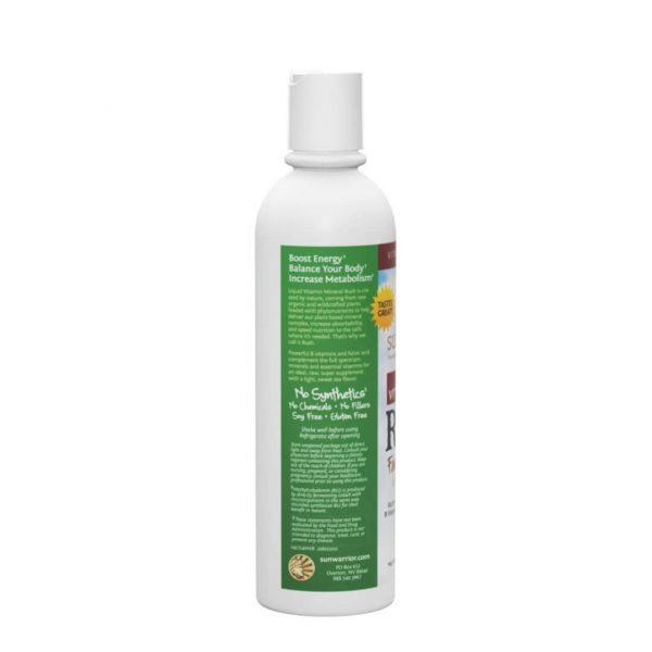 Sunwarrior Liquid Vitamin Mineral Rush - vitamini in minerali v tekočini - zadnja stran