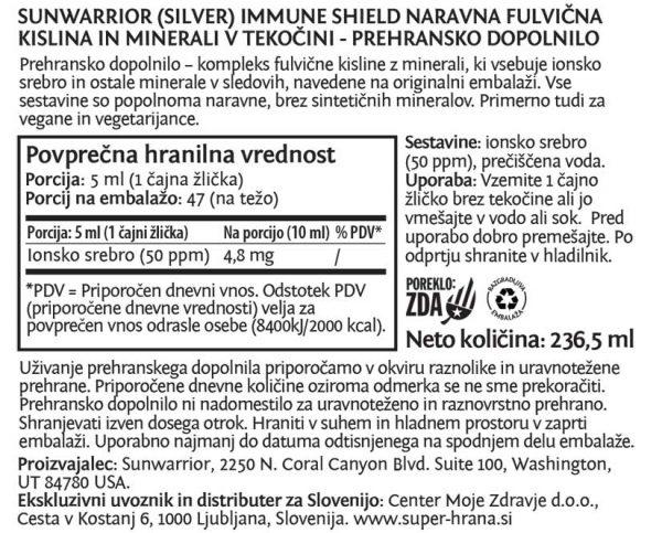 Sunwarrior Silver Immune Shield - naravna fulvična kislina in minerali v tekočini - deklaracija
