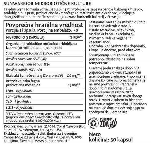 Sunwarrior mikrobiotične kulture - deklaracija