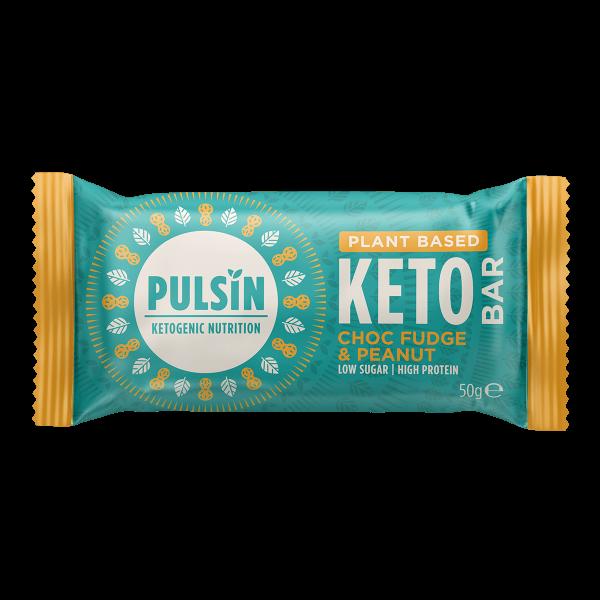 Pulsin KETO bar - veganska proteinska tablica z okusom arašidov in čokolade