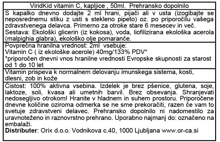 Viridian Viridikid vitamin C, kapljice za otroke - deklaracija