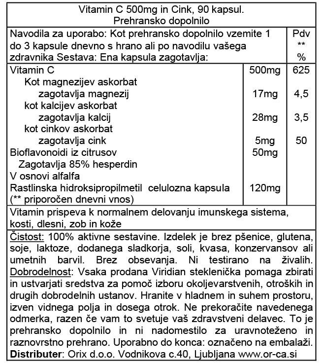 Viridian Vitamin C 500 mg s cinkom - deklaracija