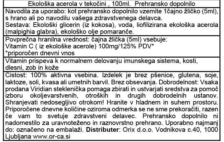 Viridian ekološka acerola, vitamin C v tekočini - deklaracija
