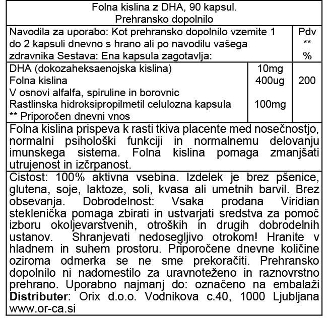 Viridian folna kislina z DHA - deklaracija